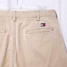 Tommy Hilfiger Mens Casual Shorts Vintage 90s Flat Front Beige Khaki Size 34