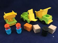 Vintage FISHER PRICE LITTLE PEOPLE 942 Construction Vehicles Figures Lot Nice