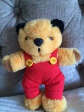 """Lovely Vintage Sooty Soft Toy Wearing Red Dungarees, Titan Toys, 8"""" Tall, VGC"""