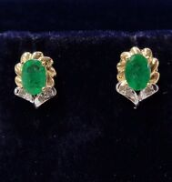 Emerald and Diamond Stud Earrings in 14ct Yellow Gold - 9mm x 6mm
