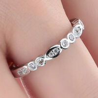 Ring size N 9ct White Gold Diamond Half Eternity Tiff Gift Silver Stacking