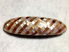 MOTHER OF PEARL BROWN & WHITE SEASHELL INLAY HAIR BARRETTE 80s VINTAGE