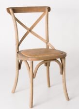 Classic French Design Natural American Oak Timber Dining Chairs - 2x Pcs