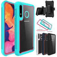For Samsung Galaxy A20/A20s Rugged Clear Shockproof Case With Belt Clip Holster
