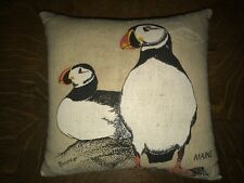 "7"" Square Handpainted Puffin Herbal Pillow Cushion Maine Coast Ocean Decor"