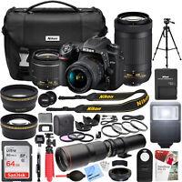 Nikon D7500 20.9 MP DSLR Camera AF-P DX 18-55mm and 70-300mm NIKKOR Lens Pro Kit
