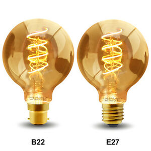 Retro Vintage LED GLOBE 4W Edison Style Spiral Filament Light Bulb B22 or E27
