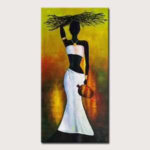 Mintura Handmade Oil Paintings On Canvas African Women Home Decoration  Wall Art