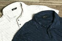 Vince Men's blue and gray striped lot of 2 short sleeve polo shirts Medium M