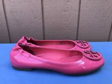 $228 EUC Tory Burch Reva Women's Size US 10B Pink Patent Leather Ballet Flats A5