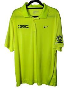 NIKE Golf Top Size XL Steve Cram Celebrity Golf Day 2015 Neon Yellow Striped