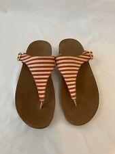 FitFlop Women's The Skinny Adjustable Red Striped Thong Sandals EU 41 US 9