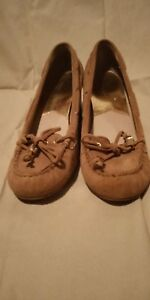 Michael Kors tan leather upper rubber sole wedges heels shoes size 7M