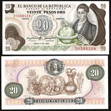 COLOMBIA  20 Pesos Oro 1983 UNC P 409 d