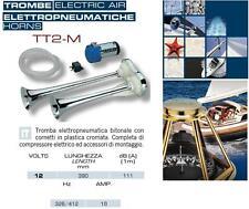 COPPIA TROMBA MARINA BITONALE CROM Cm.39 PNEUMATICA 12V 111dB BARCA CAMPER TT2-M