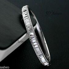 9K GF 9CT WHITE GOLD LUXURY SPARKLING SIMULATED DIAMOND BANGLE BRACELET