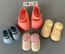 2pr Vintage Side-Button Doll Shoes +2pr Soft Rubber Baby Doll Shoes — Assorted