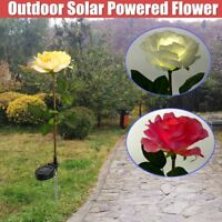 Solar Power Rose Flower LED Light Garden Yard Lawn Landscape Lamp Outdoor Decor