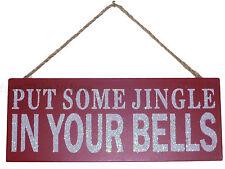 Gisela Graham Navidad Madera Brillo Rojo Placa Letrero Poner Jingle En Su