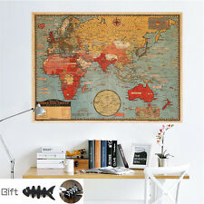 Retro World Map Wall Vintage Home Room Decor Mural Removable Wall Paper+ GIFT
