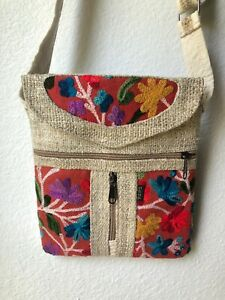 NWT Embroidered Hippie Eco Frendly THC Free PURE Hemp Side BAG Adjust Nepal SB14