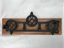 Antique Cast Iron Small Gate Latch with Acorns Black Metal Mounted on Wood