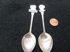 Pair of Vintage English Royals Souvenir Spoons - Queen's 80th and Diana & Charle