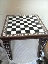 Square Chess Board Table Home Decor Elephant Inlaid Work Rosewood Table Foldable
