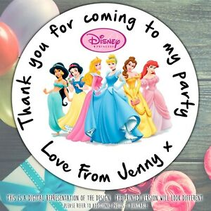 Personalised Disney Princess Birthday Stickers For Party Thank You Sweet Cone