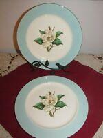 Lifetime China Co 2 Dinner Plates Turquoise w/Magnolia  Vintage PRISTINE! 726