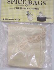 "Regency 4 Piece Spice Muslin Bags 3X4"" Reusable W/ Drawstring"