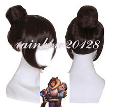 Brown OW Overwatch Mei Game Anime Cosplay Wig With Bun