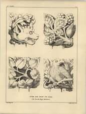 1878 cabezas de follaje piedra agua de lluvia Pipe-Bramble Espino Águila Lobo Escultura