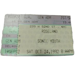 Sonic Youth 1992 NYC Roseland Ballroom Ticket Stub