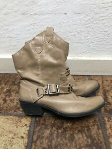 Mossimo Supply Co. Brown Faux Leather Harness Biker Boots Women's Size 7