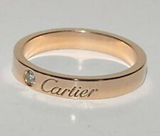 Authentic CARTIER 18K Rose Gold 1 Diamond Solitaire Ring Band Size 5.25 - 5.5