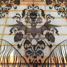 "38"" x 40""Lace Bat Window Panel Black Spooky Halloween Zombie Party Spider Web LG"