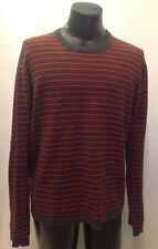 ABERCROMBIE & FITCH Mens Sz XL Orange Gray Striped Long Sleeve Crew Neck Sweater