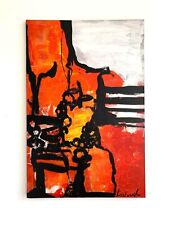 Red Black white & Yellow Large Modern Contemporary Painting Palette knife -Anya