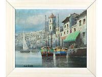 Mediterranean Harbour Scene, Italian School, Original Oil on Board, signed