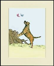 BORDER TERRIER AND BUTTERFLIES LOVELY DOG PRINT MOUNTED READY TO FRAME