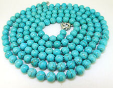 50'' Natural 8mm Blue Turquoise Round Gemstone Beads Long Necklace
