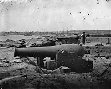 New 8x10 Civil War Photo: Confederate Water Battery with Dahlgren Naval Guns