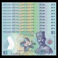 Lot 10 PCS, Brunei 1 Ringgit, 2016, P-35 New,banknotes, Polymer, UNC