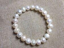 Pearl Fashion Elasticity Bracelets Y3415 Pretty 9-10mm Natural White Freshwater