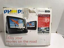 "Philips PET7402A Black 7"" Dual-Screen Portable DVD Player Stereo Speaker JPEG"
