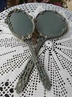 vintage VANITY HAND MIRROR & BRUSH SET by GLOBE unique refurbished blue gold