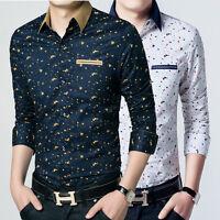 New Fashion Mens Long Sleeve Casual Slim Fit Dress Stylish Plaids Shirts UC6265