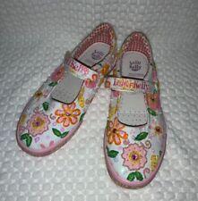 Girls Lelli Kelly Pink Multi-Color Floral Sequin Strap Shoes Size 35