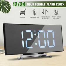 1xDigital LED Large Display Alarm Clock USB/Battery Operated Mirror Face Design